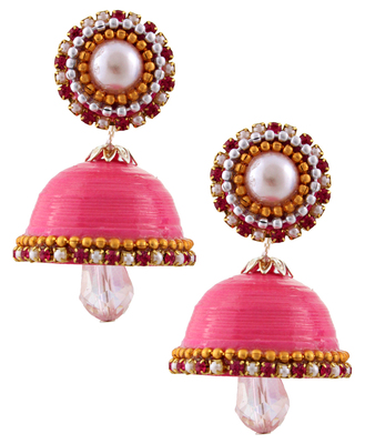 Pink teracotta and dokra jhumkas