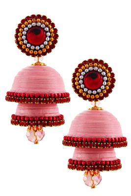 Light pink teracotta and dokra jhumkas