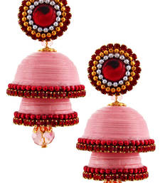 Buy Light pink teracotta and dokra jhumkas terracotta-jewelry online
