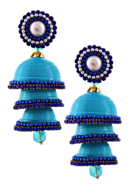Sky blue teracotta and dokra jhumkas