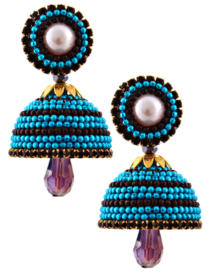 Multicolor teracotta and dokra jhumkas