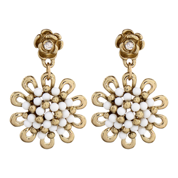 Gold Plated Flower Dangle Small Earring