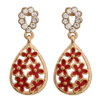 Flower Small Dangle Red Earring