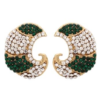Dark Green Carving Earrings