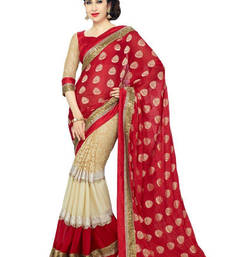 Buy Red embroidered Brasso saree with blouse party-wear-saree online
