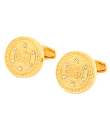 Buy BLISS Collection Royal Golden Luxury Shirt Accessory Solid Round Cufflinks For Men gifts-for-him online