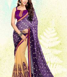 Buy wine embroidered georgette saree with blouse half-saree online