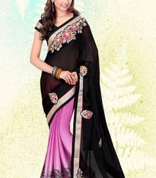 Buy black embroidered satin saree with blouse satin-saree online