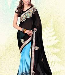 black embroidered satin saree with blouse satin-saree