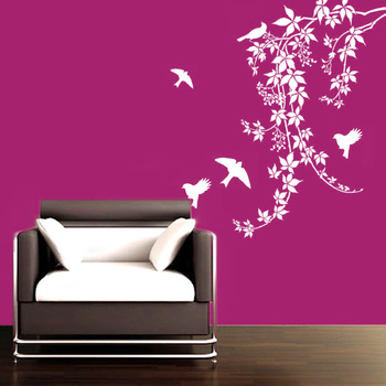 Large Birds on vines wall decal