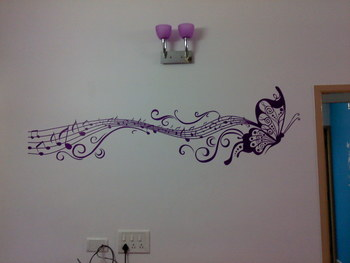 Small Musical Butterfly Wall Decal Modern Graphic