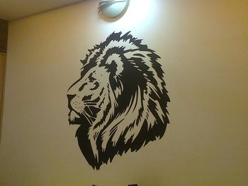 Small Lion Head Wall Decal Birds and Animal