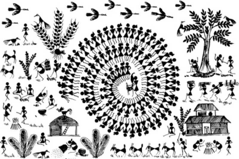 Buy Small Warli Art Village Wall Decal Ethnic Indian Online