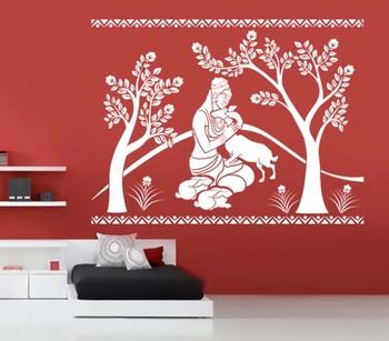 Small Shakuntala With Deer Wall Decal Ethnic Indian
