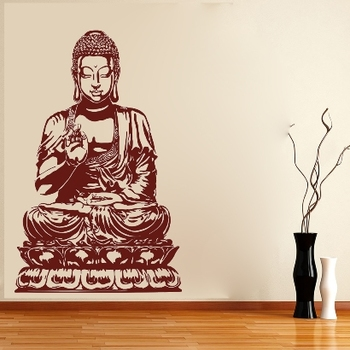 Medium Buddha On Lotus Wall Decal Ethnic Indian