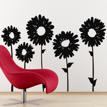 Medium Sun Flowers Wall Decal Nature