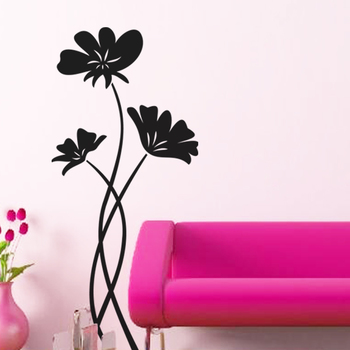 Large Perky Poppies Wall Decal Nature