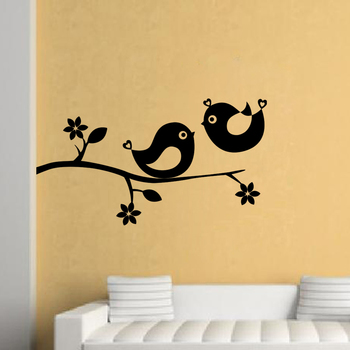 Large Cute Birds Wall Decal Nature
