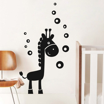 Medium Giraffe And Bubbles Wall Decal Birds and Animal