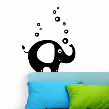 Large Elephant With Bubbles Wall Decal Birds and Animal