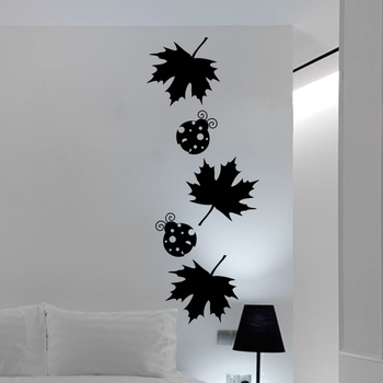 Small Maple Leaves And Ladybugs Wall Decal Nature