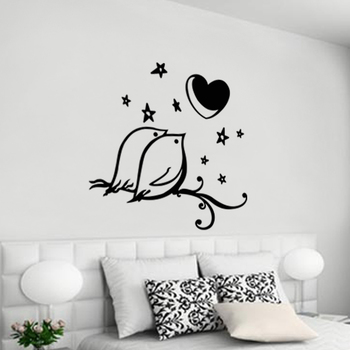 Small Love Birds Wall Decal Modern Graphic