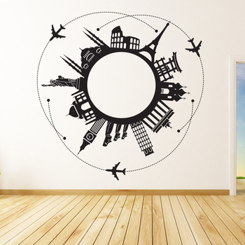 Large Around The World Wall Decal Modern Graphic