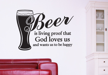 Small Be Happy With Beer Wall Decal Modern Graphic