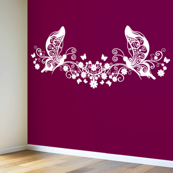 Small Butterflies And Blooms Modern Graphic