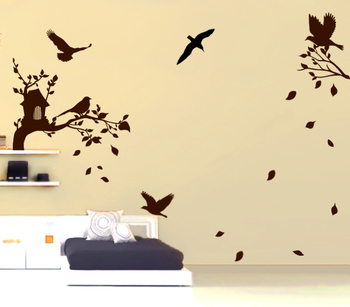 Large Busy Birds Wall Decal Nature