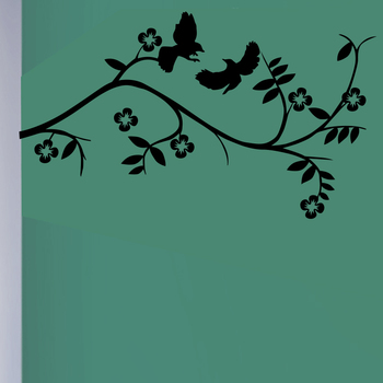 Medium Birds And Flowering Branch Wall Decal Nature