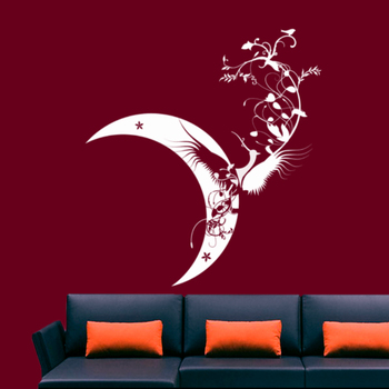 Small Moon Bird Wall Decal Modern Graphic