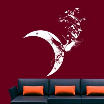 Large Moon Bird Wall Decal Modern Graphic