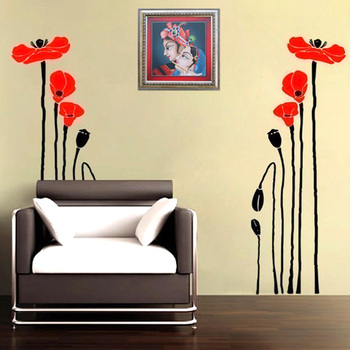 Small Precious Poppies Wall Decal Nature
