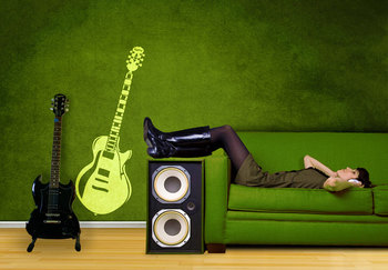 Small Guitar Wall Decal Modern Graphic