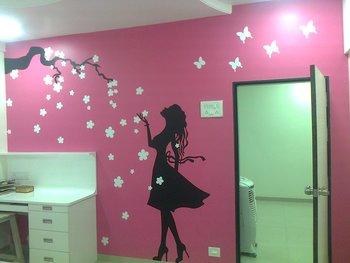 Large Flower Shower Wall Decal Modern Woman
