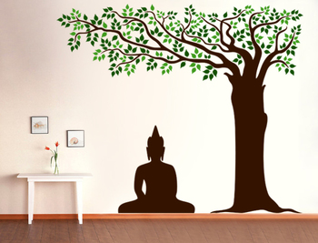 Large Buddha Under Tree Wall Decal Ethnic Indian