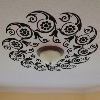 Large Flowers in Circle Ceiling Decal Modern Graphic