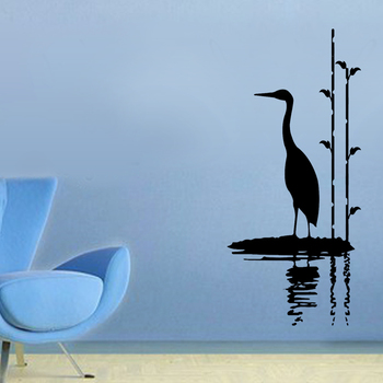 Small Stork By Water Wall Decal Nature