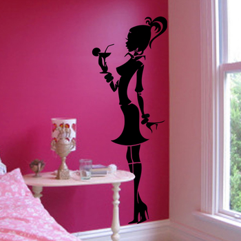Large Cocktail Girl Wall Decal Modern Woman