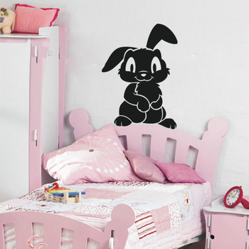 Small Funny Bunny Wall Decal Birds and Animal