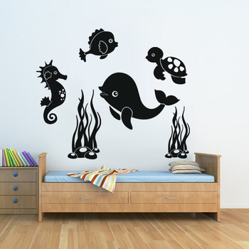 Medium Aquatic Animals Wall Decal Birds and Animal