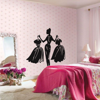 Large Dress Up Dilemma Wall Decal Modern Woman