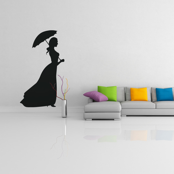 Large Lady with Umbrella Wall Decal Modern Woman