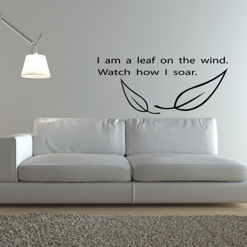 Large Leaf on the Wind Wall Decal Quotes