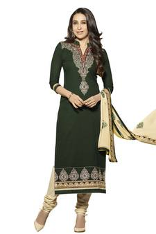 8bf8c8d541f938 Green embroidered cotton unstitched salwar with dupatta