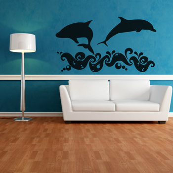 Large Delightful Dolphins Wall Decal Birds and Animal