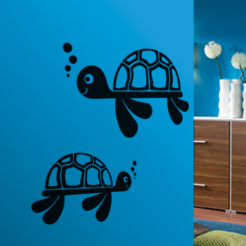 Small Cute Turtles Wall Decal Birds and Animal