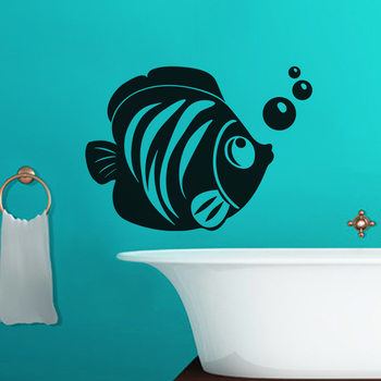 Medium Fish With Bubble Wall Decal Birds and Animal