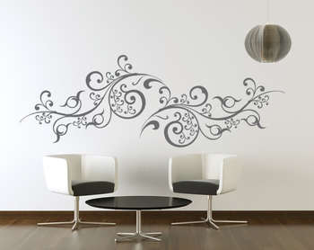 Large Scroll Vines Wall Decal Modern Graphic